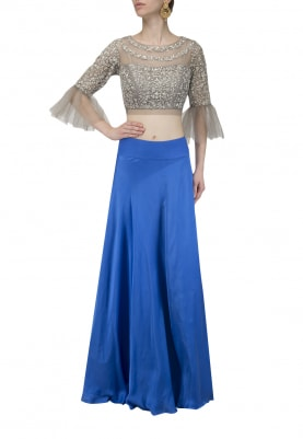 Grey Embroidered Crop Top with Royal Blue Skirt