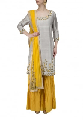 Grey Embroidered Kurta with Yellow Gharara Set