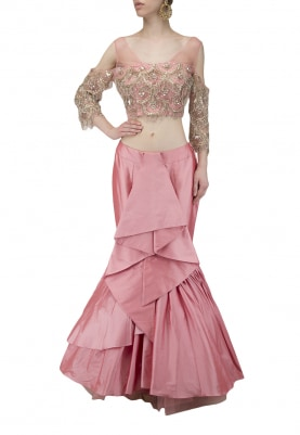 Rose Pink Ruffled Skirt with Embroidered Blouse