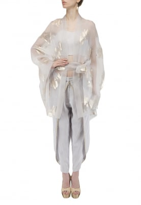 Light Blue Jacquard Organza Kimono with Bustier and Dhoti Pants Set