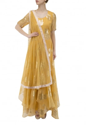 Yellow Jacquard Organza Anarkali Set