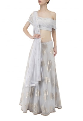 Light Blue Pleated Blouse with Jacquard Lehenga Set