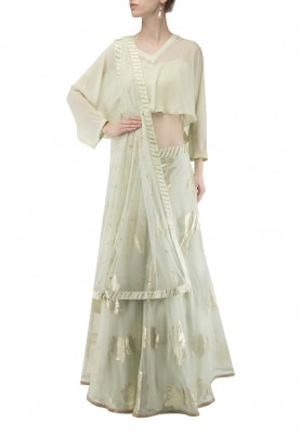 Light Green Waterfall Overlay with Bustier and Jacquard Lehenga