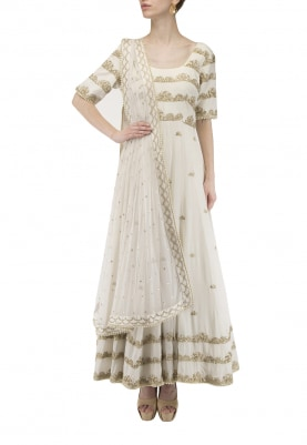 Ivory Embroidered Anarkali Set