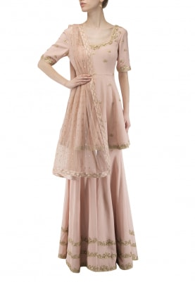 Pink Embroidered Short Anarkali with Gharara Set