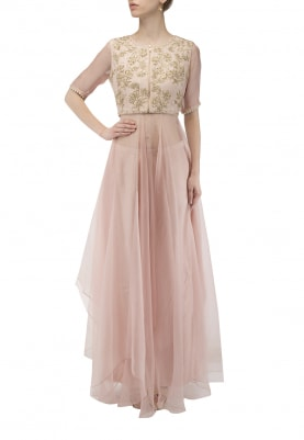 Pink Intricate Embroidered Waistcoat with Kurta and Palazzo Set