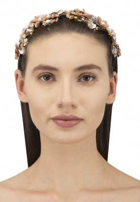 Gold and Silver Crystal and Sequins Embellished Floral Hairband