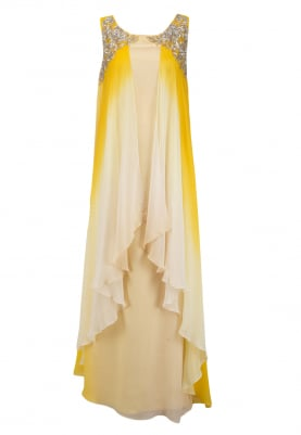 Peach and Mustard Embroidered Layered Gown