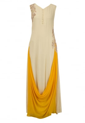 Beige and Mustard Cowl Drape Gown