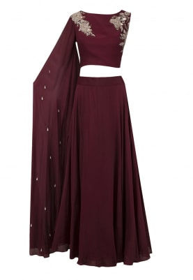 Maroon Embroidered Blouse with Skirt