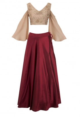 Beige Embroidered Crop Top and Maroon Skirt Set