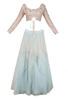 Aqua Layered Lehenga with Peach Embroidered Blouse