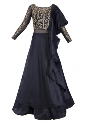 Navy Blue Embroidered Ruffled Gown