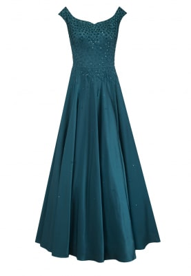 Teal Green Resham Embroidered Gown