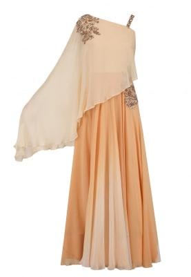 Peach Shaded Drape Dress