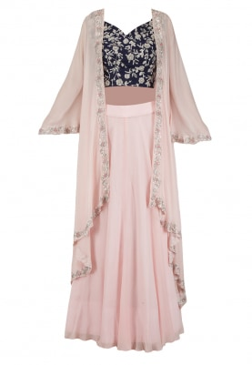 Navy Blue Embroidered Blouse with Pink Lehenga and Jacket Set