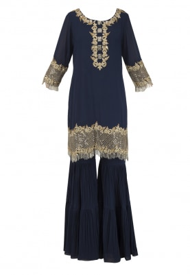 Navy Blue Kasab Embroidered Kurta with Gharara Set