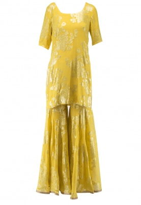 Yellow Jacquard Short Kurta with Gharara Set
