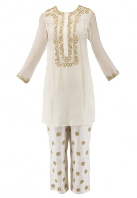 Ivory Embroidered Short Kurta with Chanderi Pants