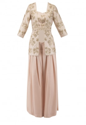 Pink Embroidered Jacket with Bustier and Palazzo Pants Set