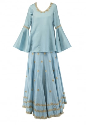 Blue Embroidered Short Kurta with Lehenga Set