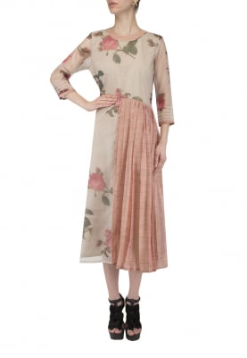 Pink and Light Grey Pleated Halfway Long Dress