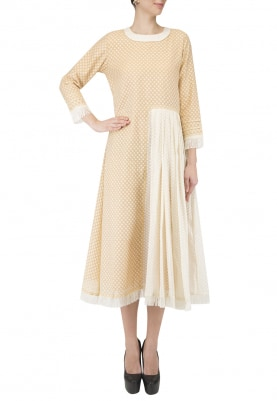 Off White and Beige Pleated Halfway Long Dress