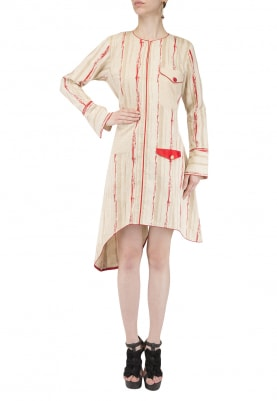 Creame and Red Striped Assymetrical Dress