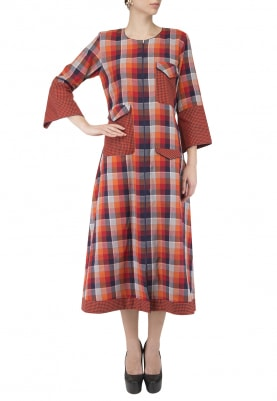 Red Big Aand Small Checks Midi Dress