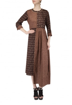 Dark Brown Big and Small Bootis Half and Half Dress