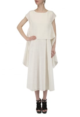 White Side Flaps Midi Dress