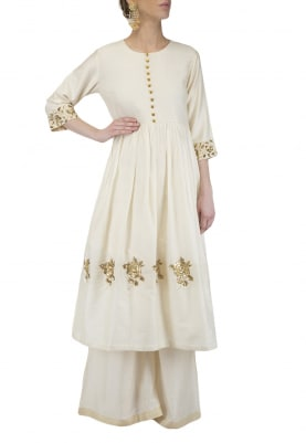 Ivory Embroidered Tunic with Flared Pants Set