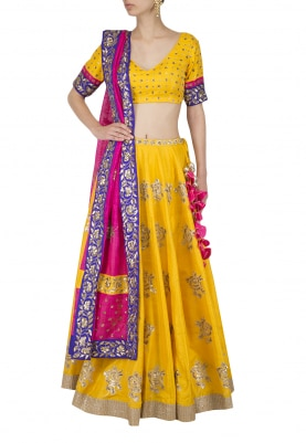 Turmeric Yellow Embroidered Lehenga with Pink Dupatta Set