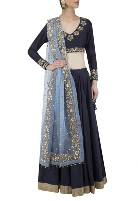 Midnight Blue Embroidered Lehenga Set