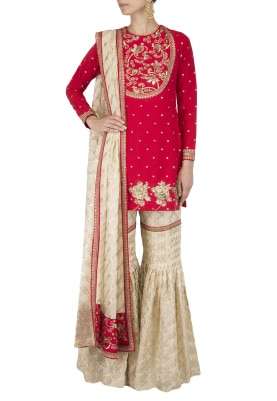 Crimson Red Embroidered Short Kurta with Gharara Set