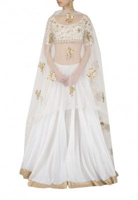 White Embroidered Lehenga Set