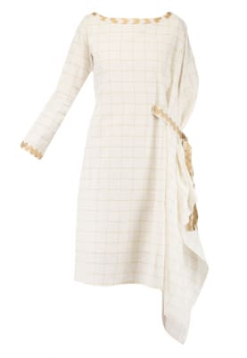Off White Half Kaftan Half Straight Fit Dress