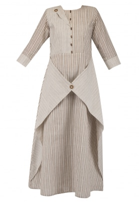 Light Brown Thin and Thick Stripes Dress