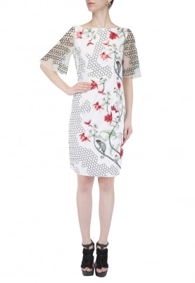 White Chameleon Print Embellished Dress
