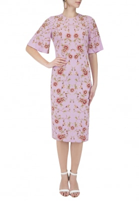 Mauve Rose Print Embroidered Dress
