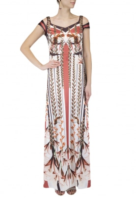 Ivory Cinced Print Long Gown