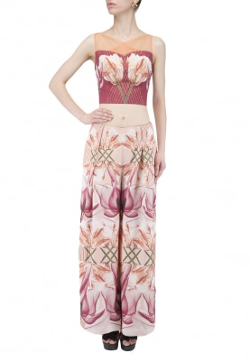 Oxblood Hibiscus Print Crop Top with Embellished Pleated Pants
