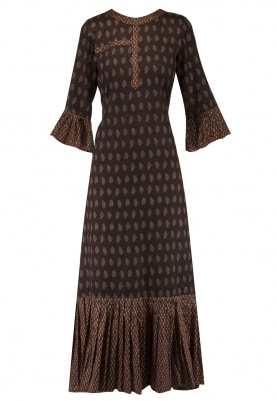 Brown Big and Small Bootis Pleated Dress