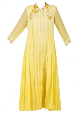 Yellow Ombred Printed Pleated Tunic