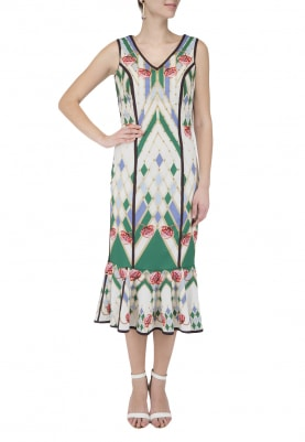 Multicolor Tulip Printed Embellished Dress