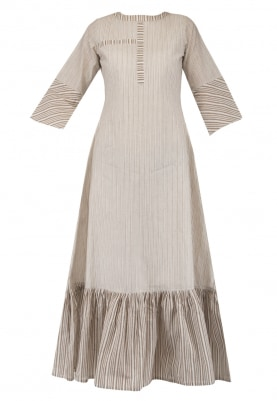 Light Brown Pleated Midi Dress