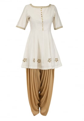 Ivory Embroidered Peplum Kurta with Dhoti Salwar Set