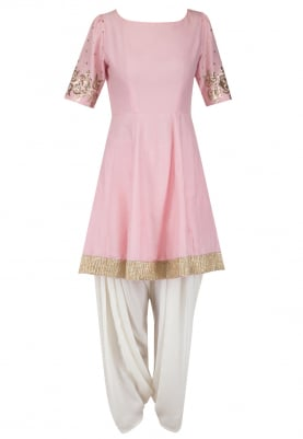 Blush Pink Embroidered Peplum Kurta with Dhoti Salwar Set