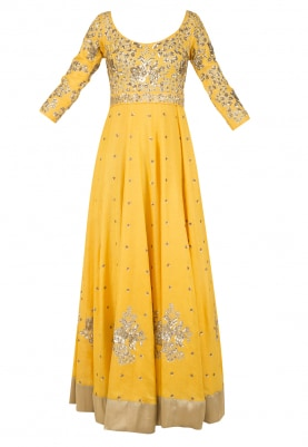 Ochre Yellow Embroidered Kalidaar Set
