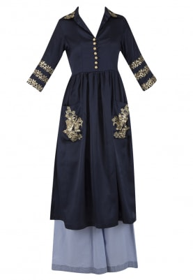 Midnight Blue Embroidered Tunic with Flared Pants Set